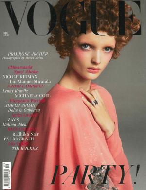 Vogue December 2019 Cover featuring Primrose Archer