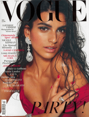 Vogue December 2019 Cover featuring Saffron Vadher