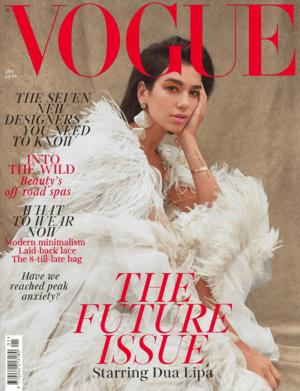 Vogue January 2019 Cover featuring Dua Lipa