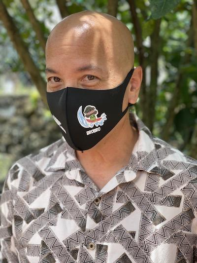 Chris in a BroBro Hawaii Transplants Face Mask