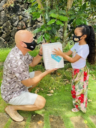 Chris and Zoe in Coradorables Face Masks